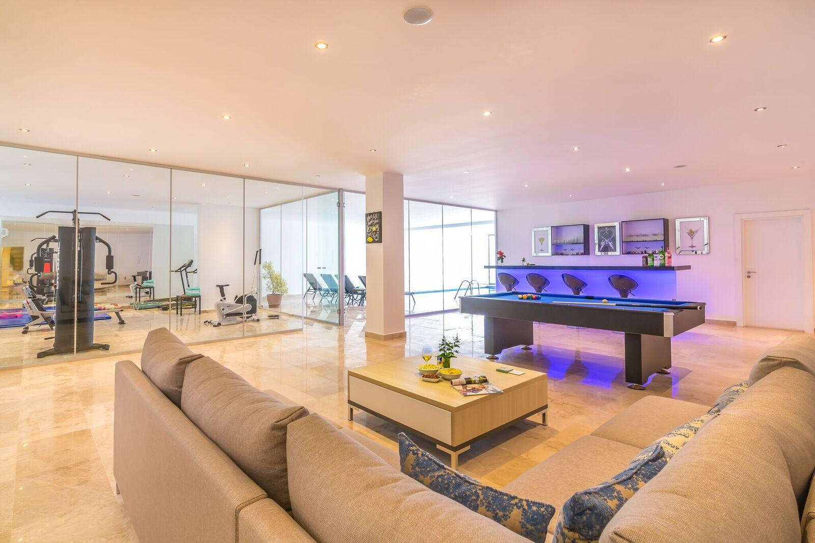 Gym, Indoor Pool, Bar, Pool Table and social area
