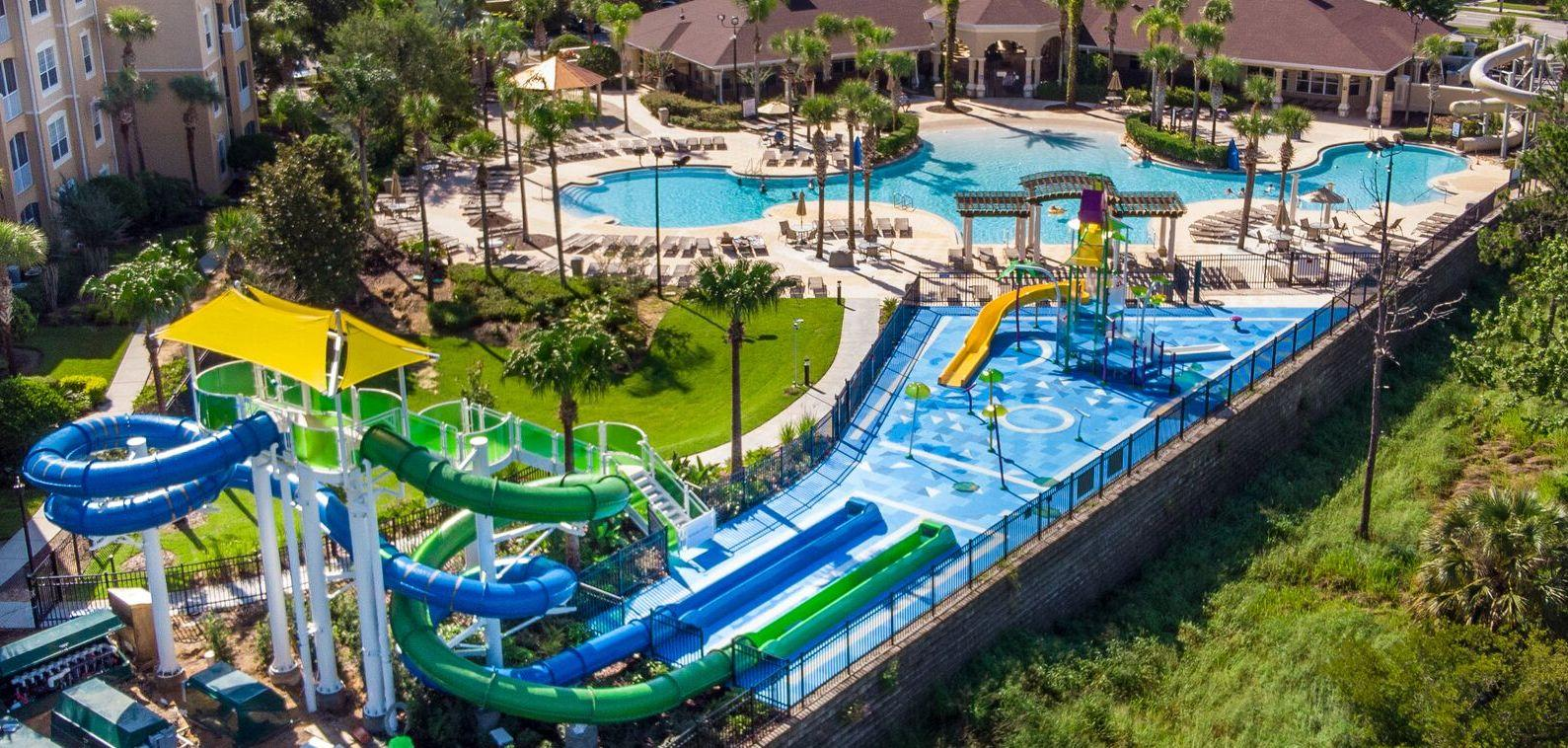 Water slides and water play area