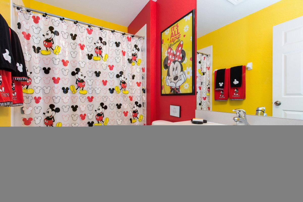 Your kids will shout with joy at their Mickey-themed bathroom.