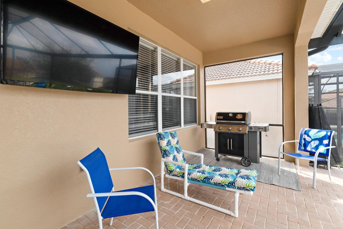 Outdoor TV and large grill for our guests