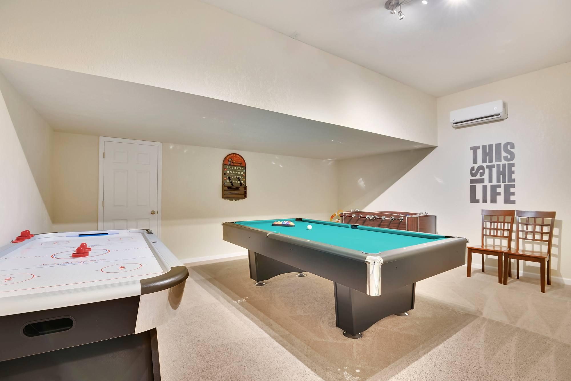 Finished game room pool table/air hockey/foosball
