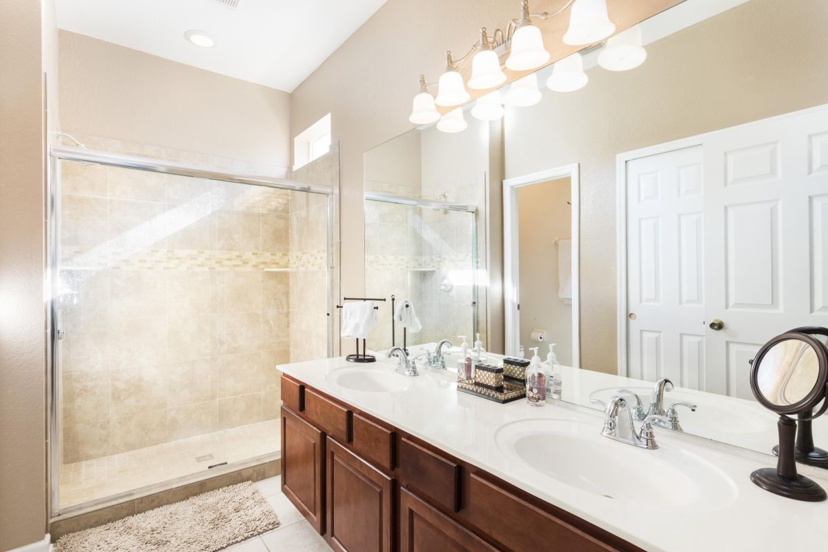 Ensuite Remodeled Master Bath (#1) With Tile Shower and Dual Sinks