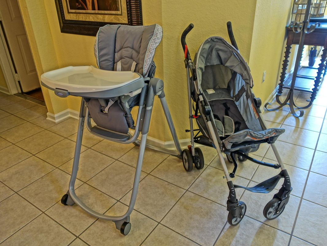 High Chair and Stroller Provided for Toddlers