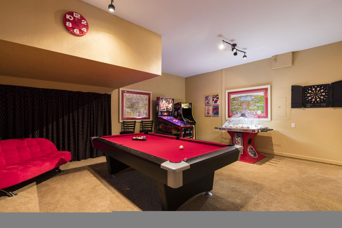 Air Conditioned Game Room with Billiards, Pinball, Multi-Arcade, Hockey, & Darts