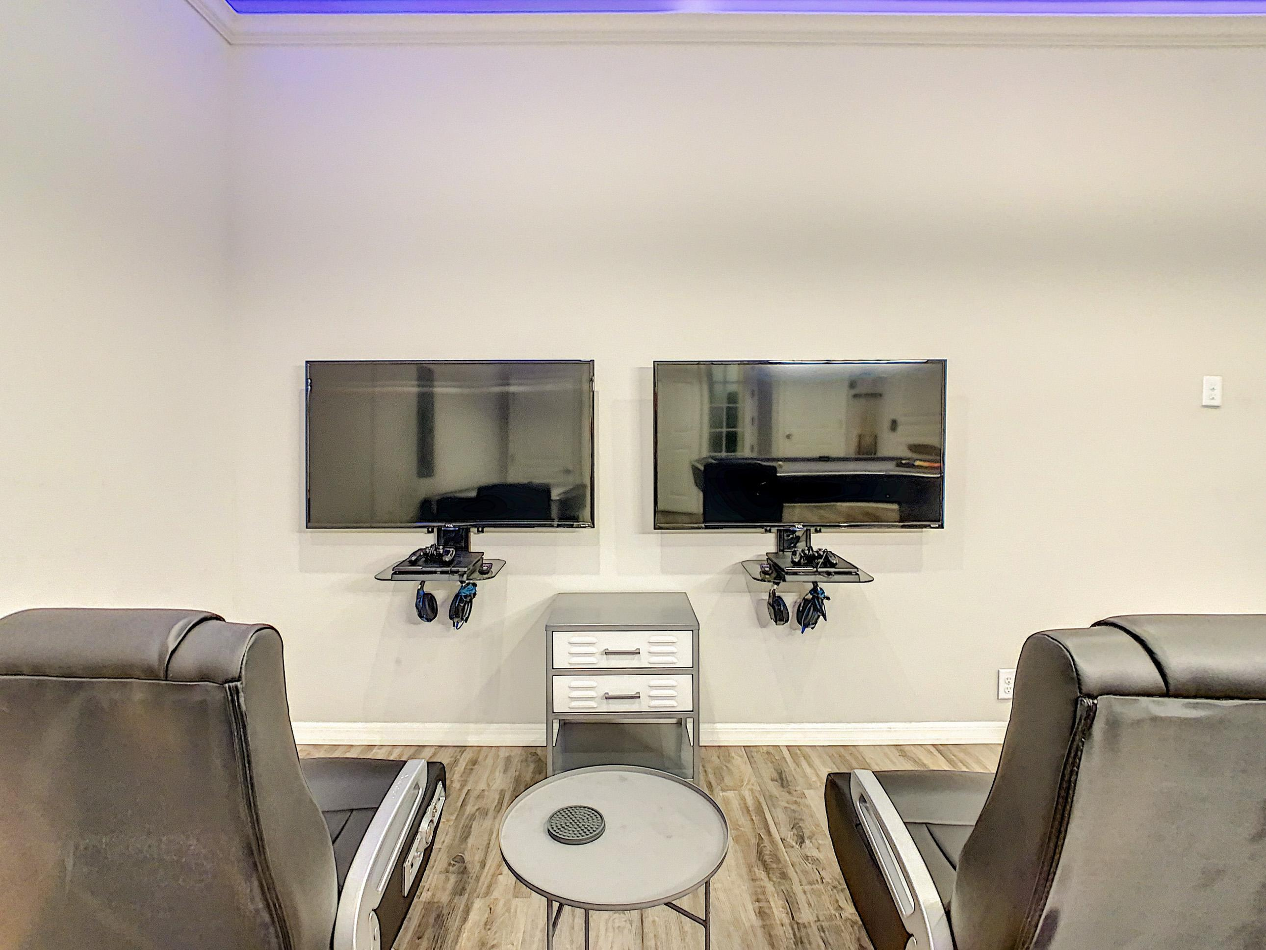 """Two PS4 Systems with 50"""" Flat Screens"""