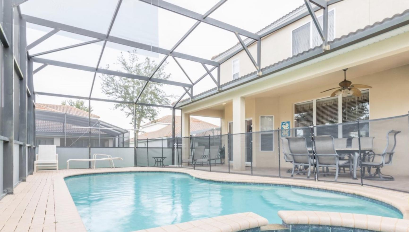 Screened in pool to protect littles