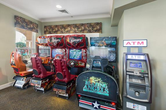 An arcade, ATM, fitness center, convenience store, movie theater, and recreation courts are a few of