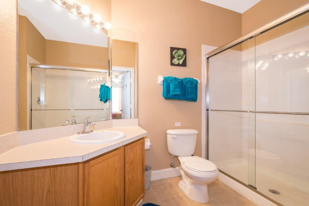 Master bathroom. First aid kit provided in the medicine cabinet (not pictured).