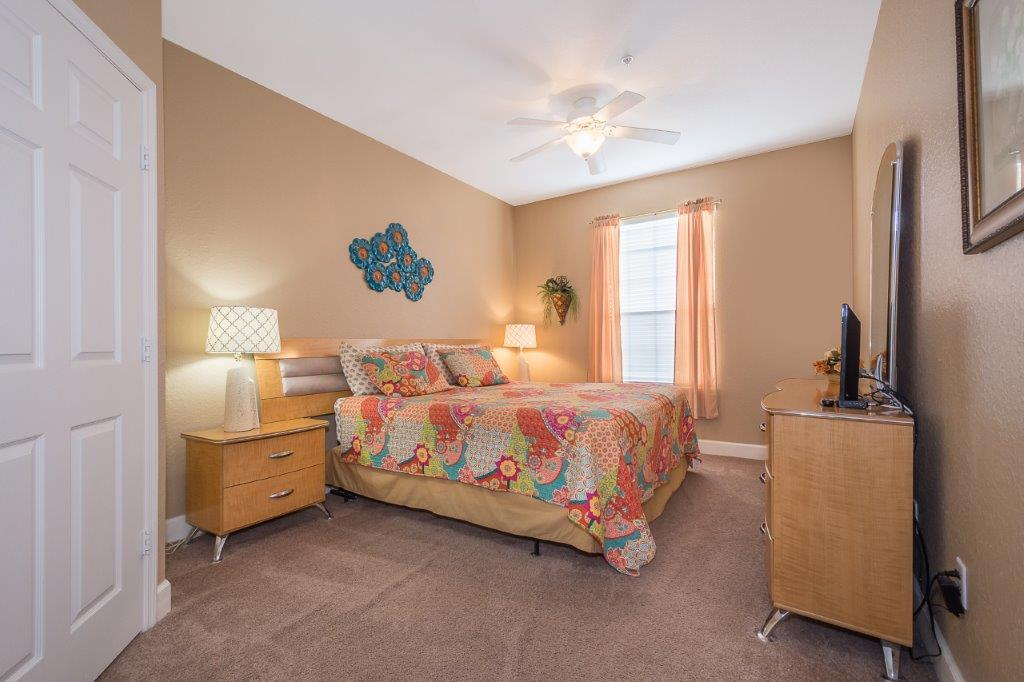 Master bedroom with TV. Stroller, pack-n-play, fan, iron, and ironing board provided in the closet (