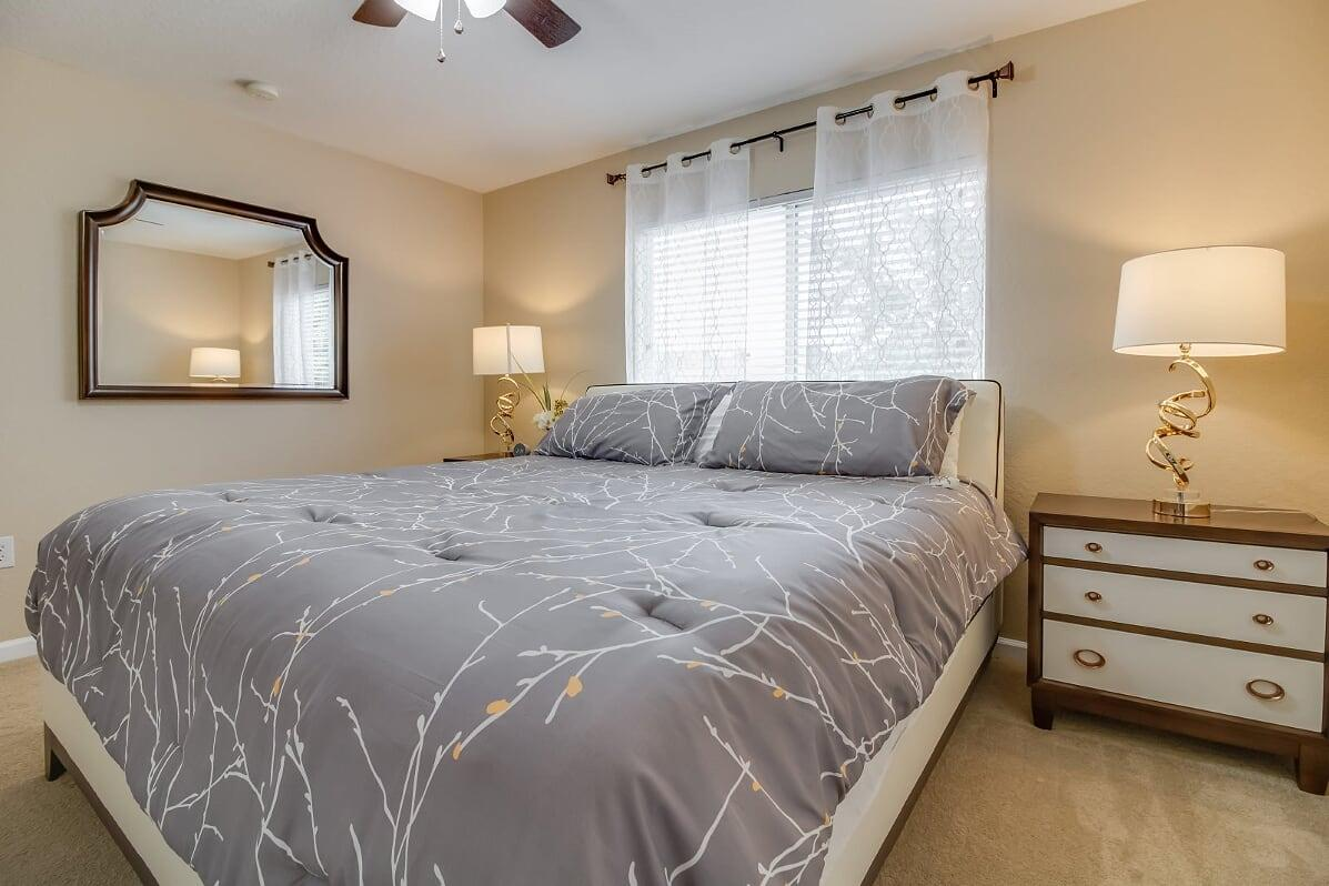 """Upstairs King Bedroom with Walk In Closet and 4 K 50"""" HDTV"""