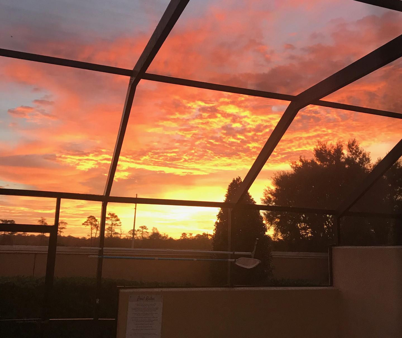 Beautiful Sunrise through the sliding glass door
