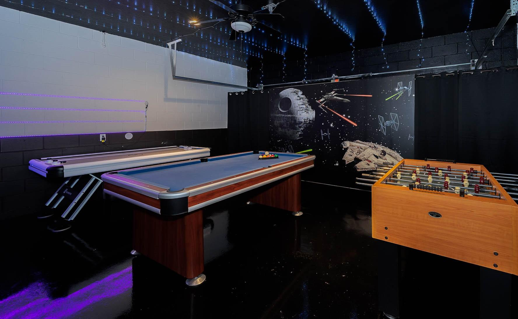 Challenge your gamers to Black Light Air Hockey.