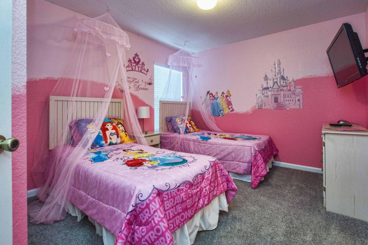 Princess bedroom with large TV