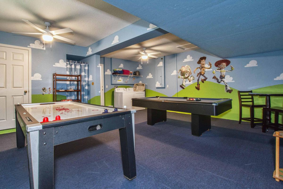 Toy Story game room with billiards and air hockey