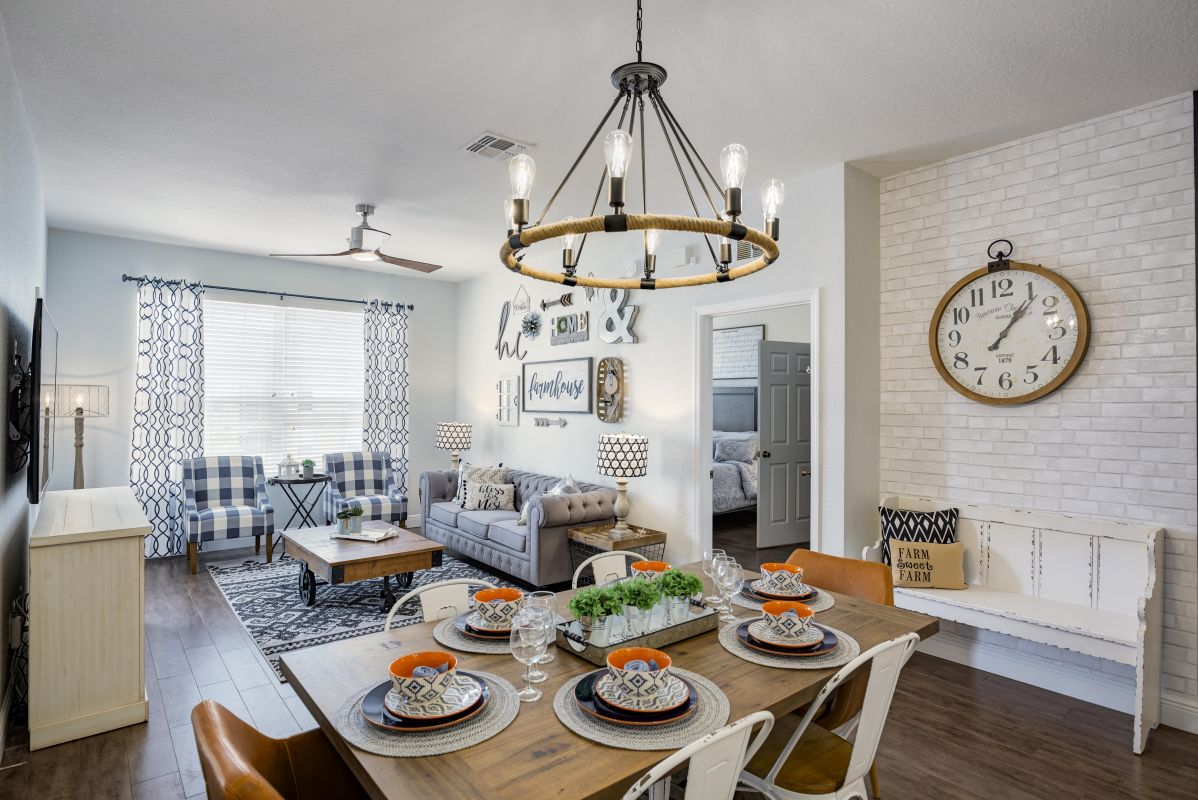 Large living and dining area