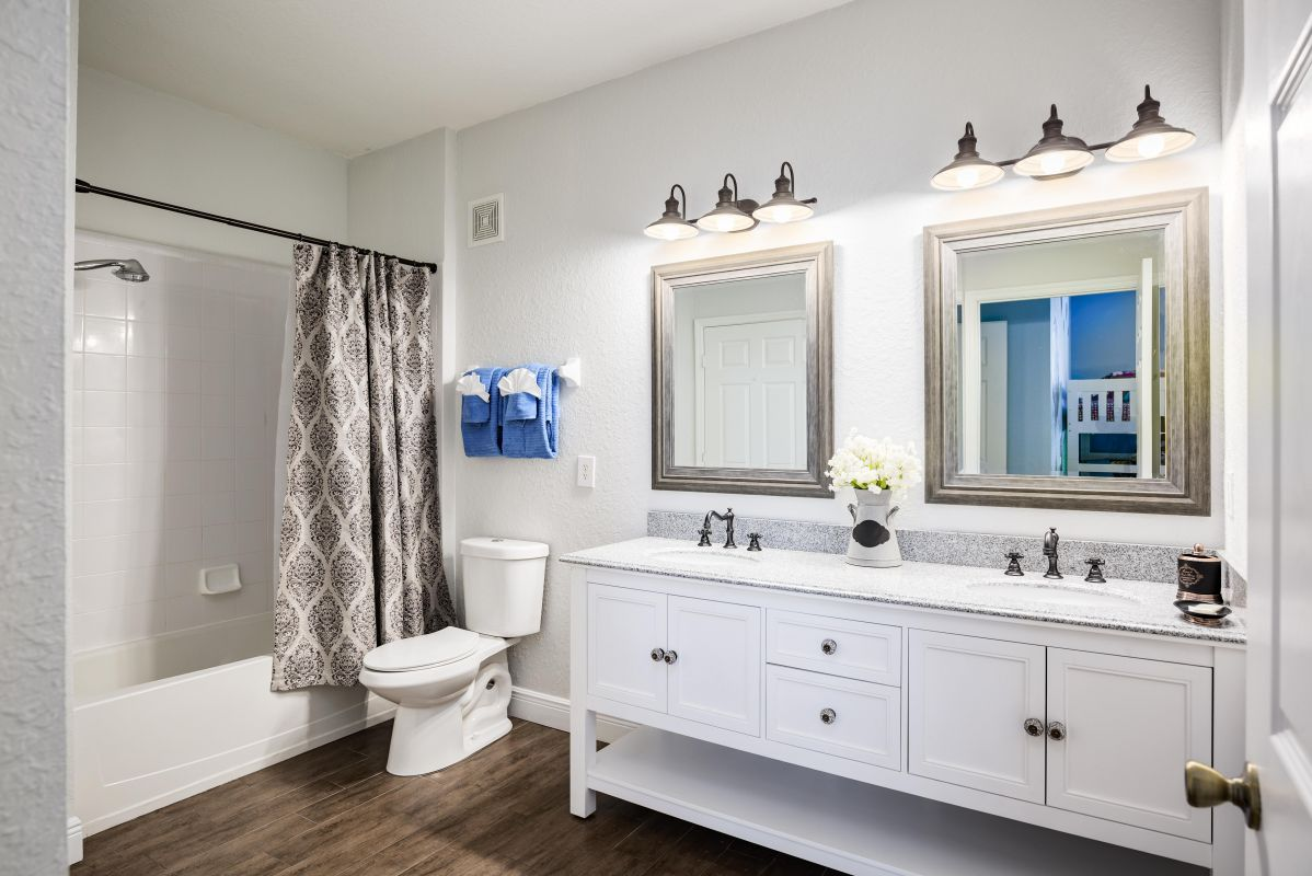 Custom  double vanity & tub /shower combo with hand shower
