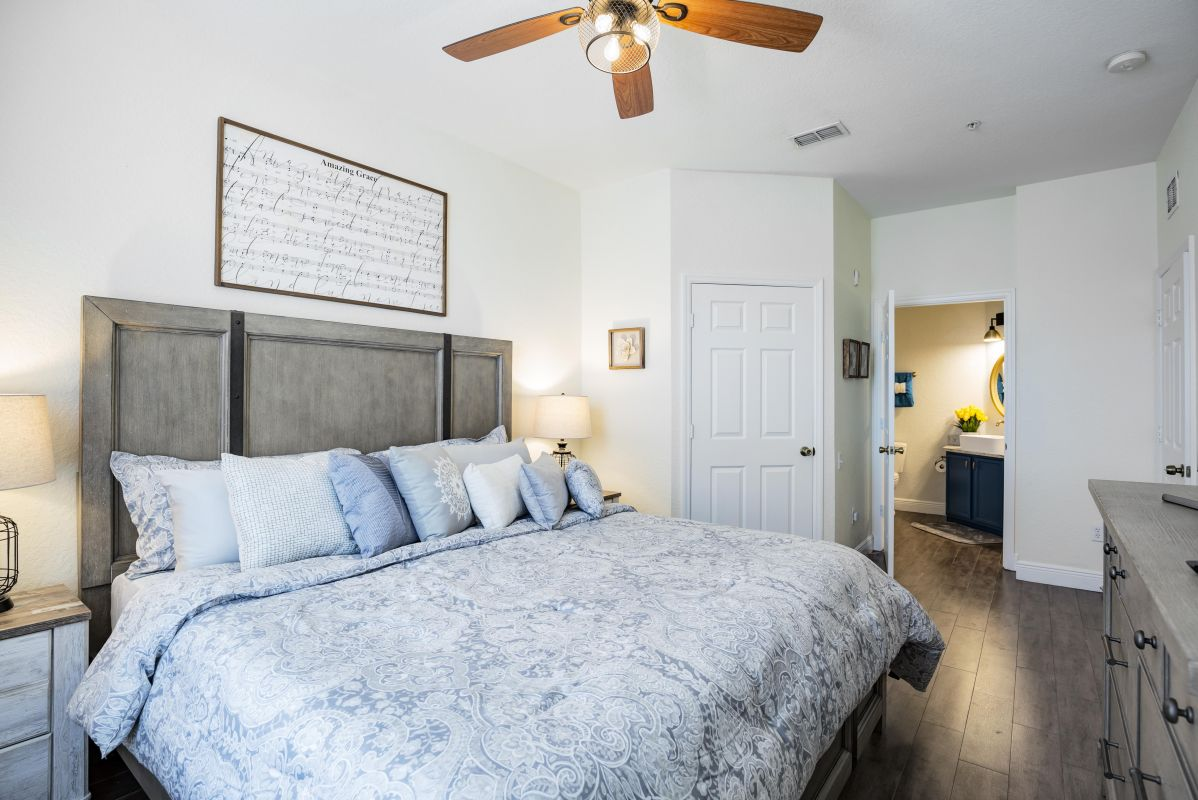 King Master Suite with plush memory foam mattress, walk-in closet and ensuite