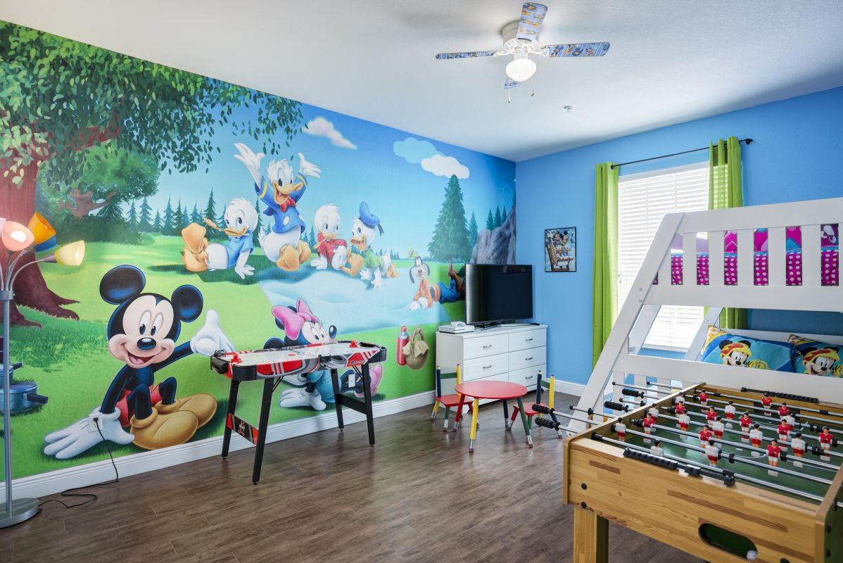 """Kids room with foosball, air hockey, 50"""" 4K TV, XBox One S, bunk bed and more"""