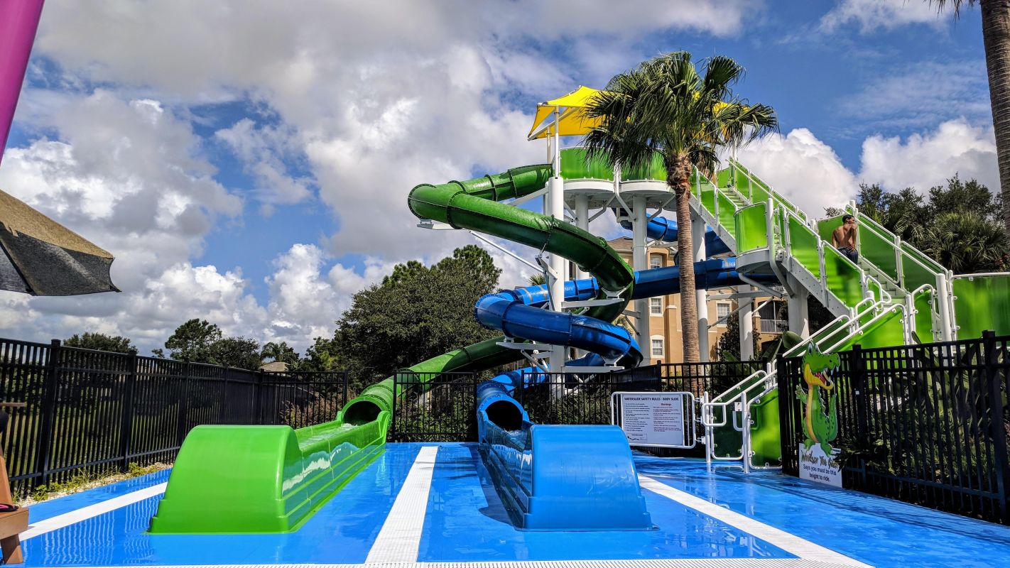 Dueling water slides in the water park in our resort.