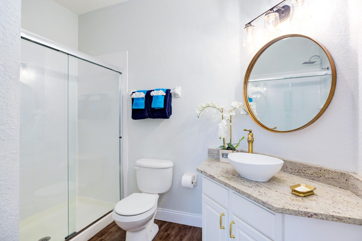 Master bathroom with walk in shower and 10 inch rainfall shower head..