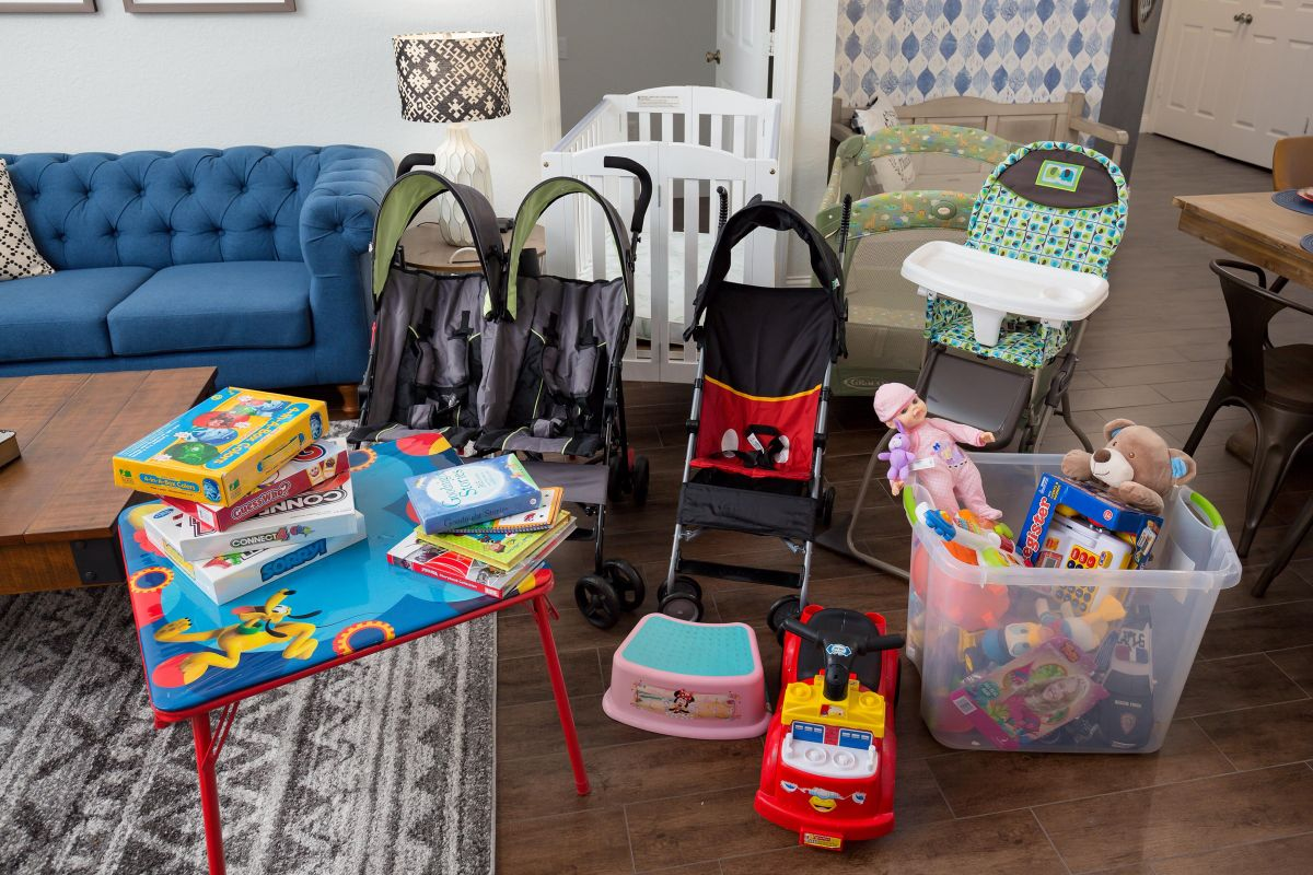 High chair,single & double umbrella stroller,pack n play, toys,games, books,portable crib and more