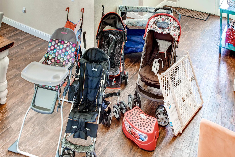 Crib, strollers, high chair, pack n play,step stool & bed rail, stairs gate etc