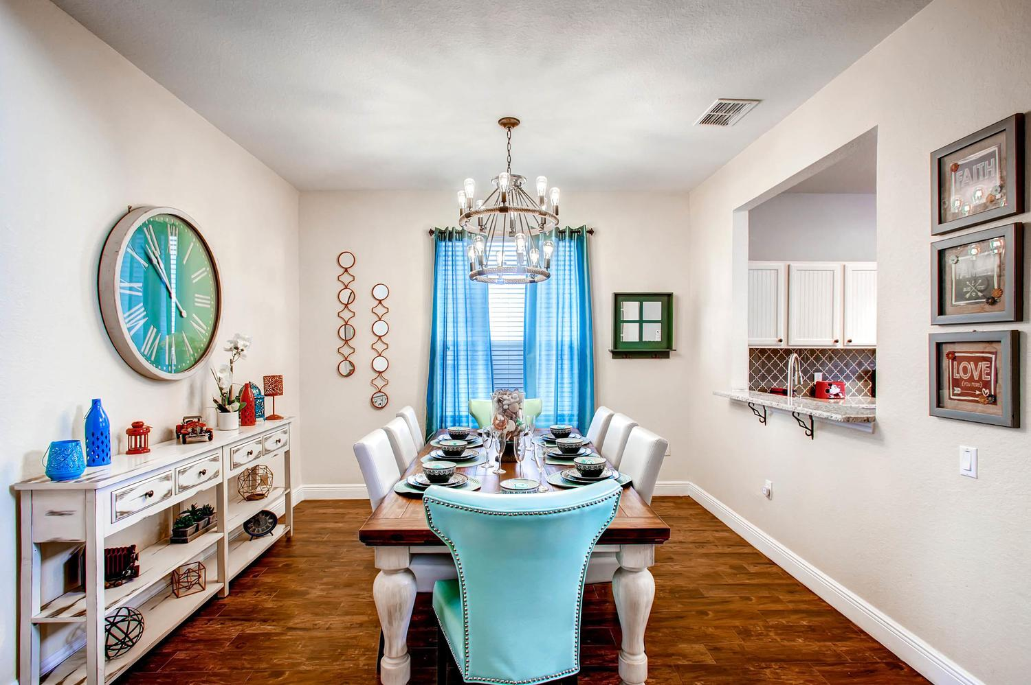 Formal Dining Area with large dining table with  seating for 8