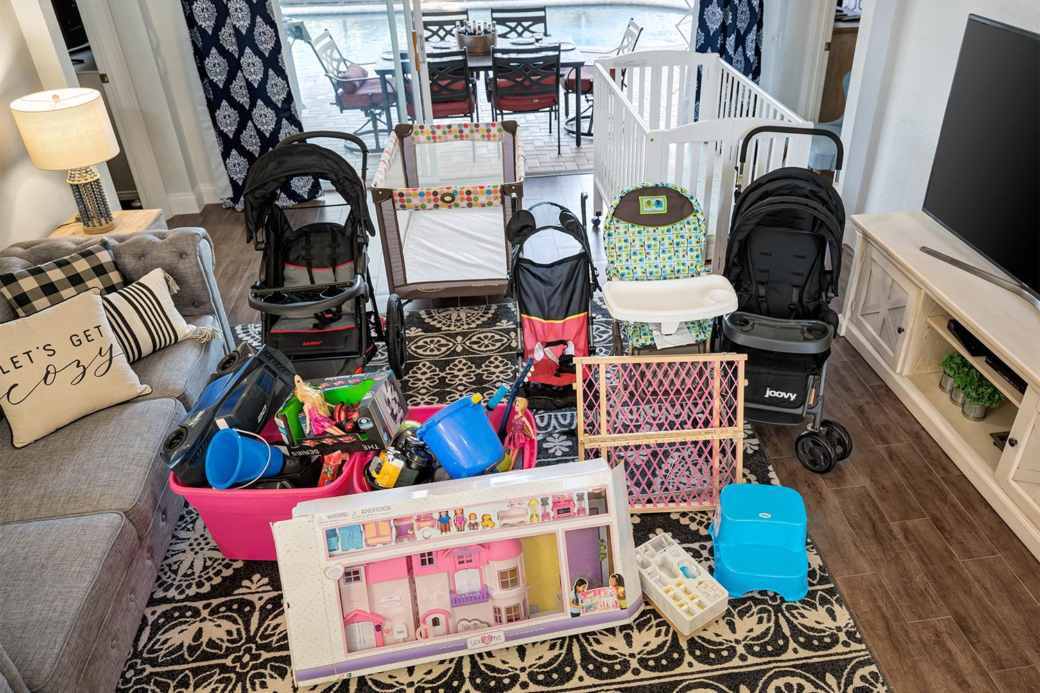 Crib, Pack n play,  strollers, high chair, baby gate, toys, games, Xbox and much more