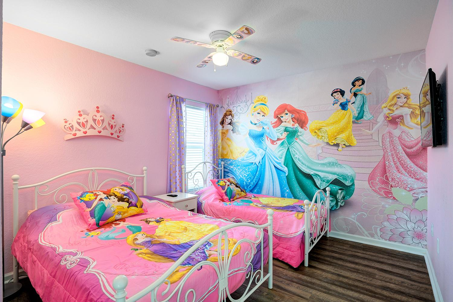 """Princess themed room with 1 full bed and 1 twin bed and 32"""" 4K TV"""