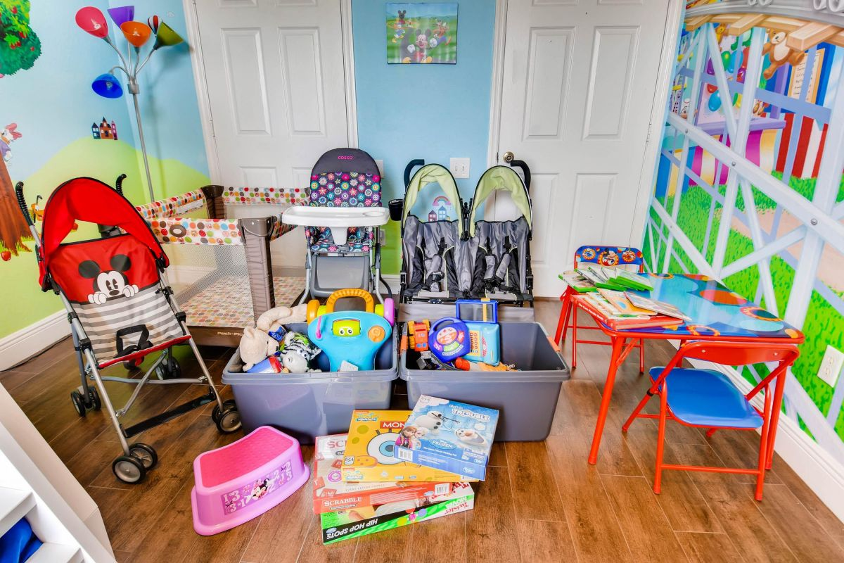 Strollers, pack n play, high chair, step stool, toys, games, books, XBox games.