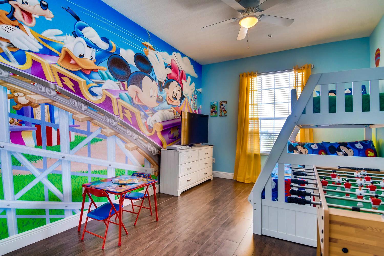 "Disney themed kids room w bunk bed, foosball, 50"" 4K TV, X Box One S  & a view of Disney fireworks!"