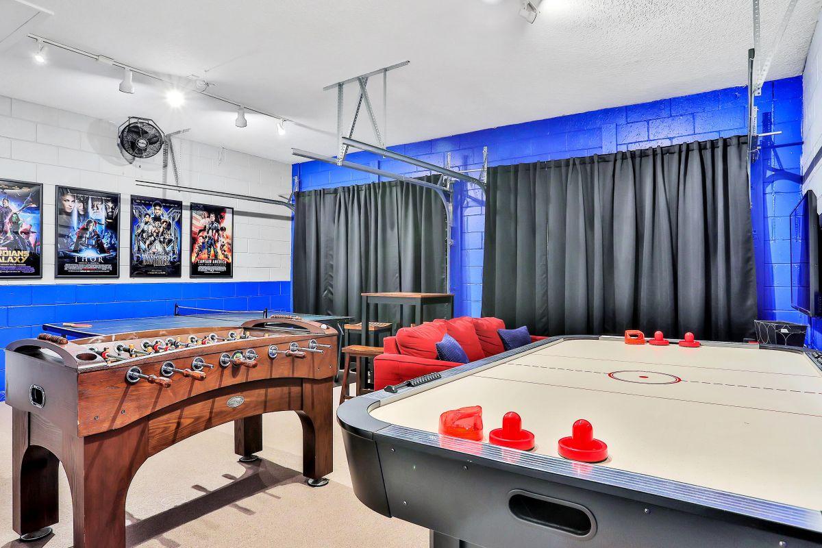Game room w ping pong, air hockey, and foosball