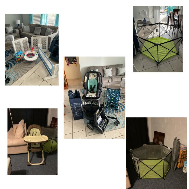 Stroller, baby gates, playpen, play yard and more