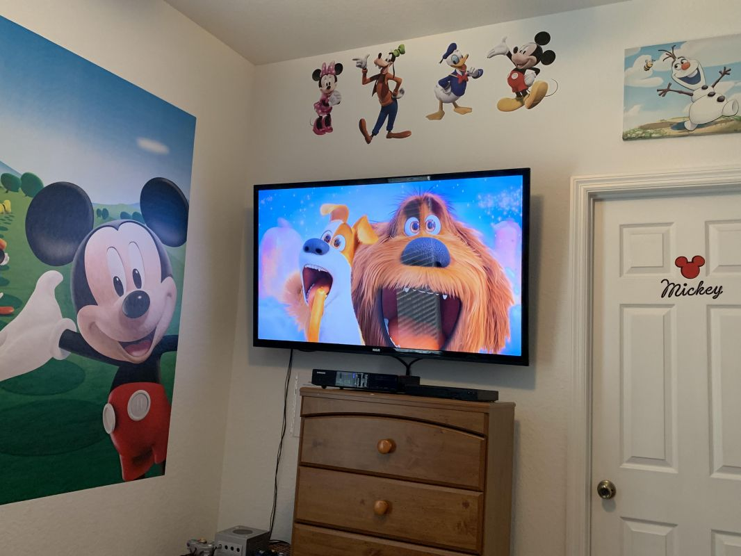 "55"" TV complete with DVD & GameCube."
